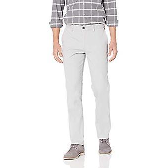 Essentials Men&s Slim-Fit Rynkbeständig Flat-Front Chino Pant, Ljusgrå, 31W x 28L