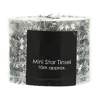 Silber Mini-Sterne Lametta Garland für Weihnachtsdekoration - 10m