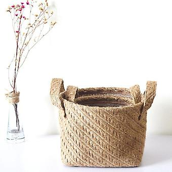 Braided Jute Cloth Storage Basket - Cotton Linen Blended Desktop Kids Laundry