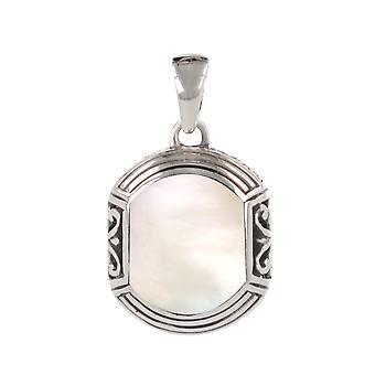 ADEN 925 Sterling Argent Blanc nacre pendentif ethnique (id 4517)