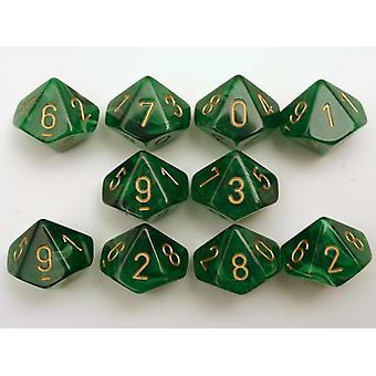 Chessex 10 x D10 Dice Set - Vortex Dice Green/gold