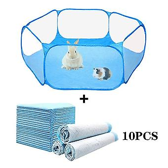 Portable Small Pet Fence - Transparent Pet Playpen Pop Open Folding Yard Fence For Dog/Hamster/Rabbit/Guinea Pig