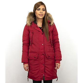 Winter coat - Parka With Fur Collar - Red