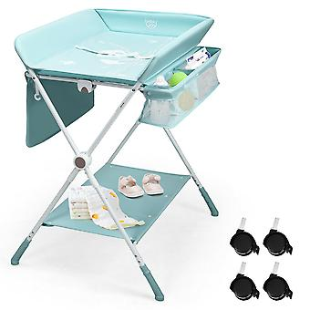 4-in-1 Baby Changing Table Folding Nursery Changing Station Bath W/Mat Storage