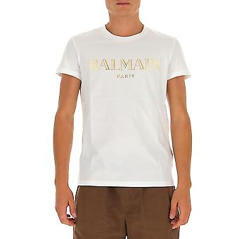 Balmain Uh11601i312gad Men's White Cotton T-shirt