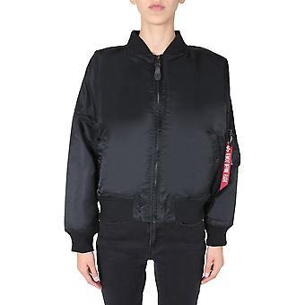 Alpha Industries 12800203 Women's Black Nylon Outerwear Jacket