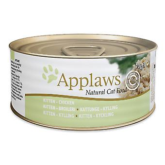24 x 70g Applaws Natural Kitten Cat Wet Food Chicken Meat Natuurlijke Pet Snack