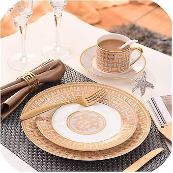 Pratos de alimentos compostos de cerâmica enfeites de porcelana ósseo ocidental - Decorações