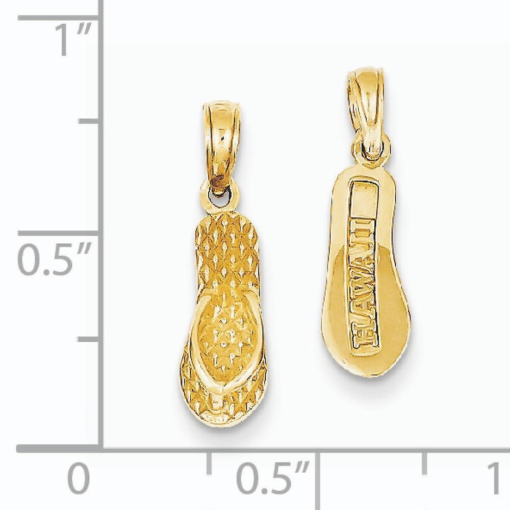 14 k Gelbgold solide strukturiert poliert wieder 3 D Hawaii Flip Flop Anhänger Halskette Maßnahmen 19,6 x 5,4 mm Schmuck Geschenke für