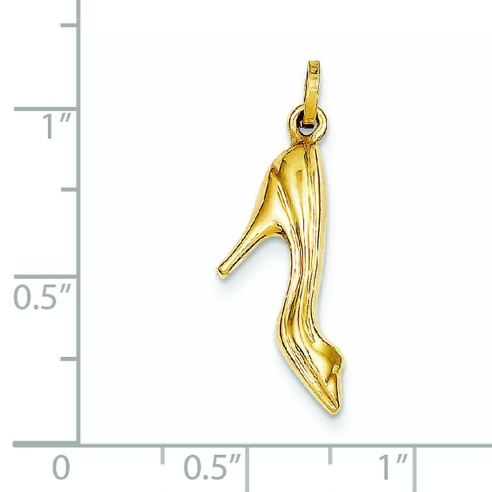 14 k Gelbgold hohl poliert High Heel Schuh Anhänger Anhänger Halskette Maßnahmen 23 x 12mm Schmuck Geschenke für Frauen