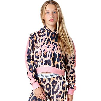 Hype Kids Leopard Crop Hoodie Multi 75