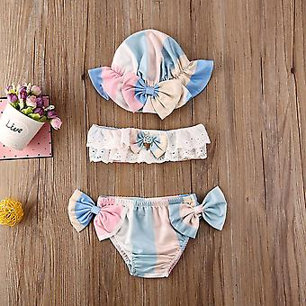 Fashion Baby Girl Summer Flower 3pcs Bikini Set- Maiô Banho de Banho