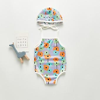 Summer Baby Swimwear Cute Flower Swimsuit With Hat Swimwear