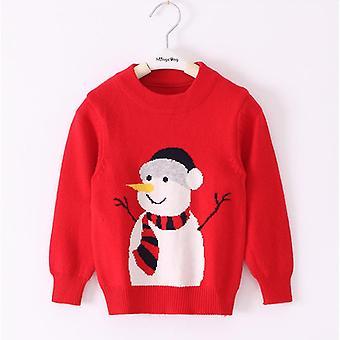 Long Sleeve Cartoon Sweater, With Deer Printed