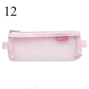 Transparent Mesh Pencil Bag For Office School, Kawaii Stationery Nylon Zipper