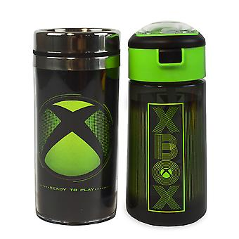 XBOX Wasserflasche & Reisebecher Geschenkset für Erwachsene & Kinder | Gaming Sport Drink 18oz & Edelstahl Flasche 14oz | Schwarz & Grün wasserdichte Trinkbecher
