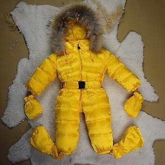 Kid's Hooded Snowsuit-white Duck Down Filling And Real Fur Collar