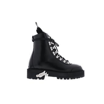OFF WHITE Leather Hiking Boot Black OWIA045E20LEA0011001 shoe