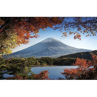 Muurschildering Fuji in de herfst