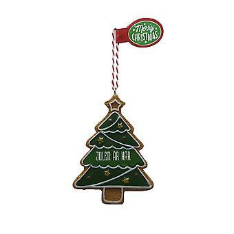 Figura de pan de jengibre CHRISTMAS IS HERE colgante árbol de Navidad