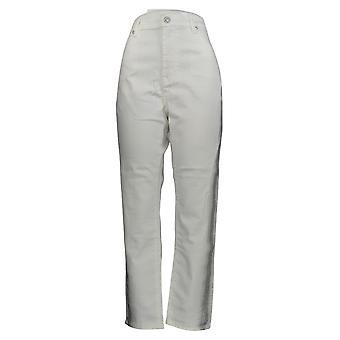 DG2 door Diane Gilman Women's Jeans White Tuxedo Metallic Stripe 723-672