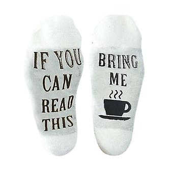"""Flo Slogan Socks """"If You Can Read This, Bring Me A Cup Of Tea"""" - UK Size 4-7, White"""