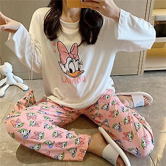 daisy trykt bag pyjamas kvinner, søt tegneserie langermet bukser homewear sett