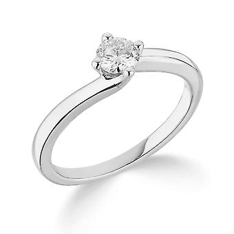 9K White Gold Twist Design 4 Claw Setting 0.35Ct Certified Solitaire Diamond Engagement Ring