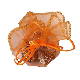 10 Voile Orange Round Wraps with iridescent silver dots ideal for Halloween