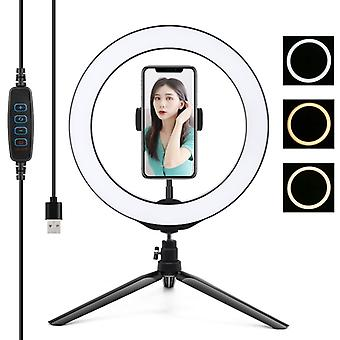 PULUZ 10.2 inch 26cm Light + Desktop Tripod Mount USB 3 Modes Dimmable LED Ring Vlogging Selfie Photography Video Lights with Cold Shoe Tripod Ball He