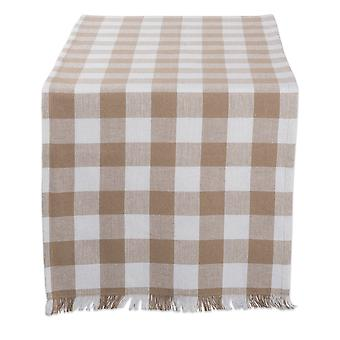 Dii Stone Heavyweight Check Fringed Table Runner