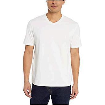 Essentials Menn's 2-Pack Løs-fit V-hals T-skjorte, Hvit, Stor