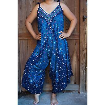 Blå Påfugl Boho Hippie Jumpsuit Rompers