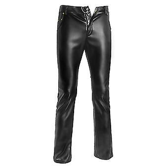 Moda Skinny Pantaloni din piele Men Casual Slim Pantaloni de spalat