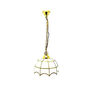 Φως κρεμαστών κόσμων σπιτιών κουκλών με τη άσπρη χρυσή σκιά 12v μικροσκοπικός ηλεκτρικός φωτισμός