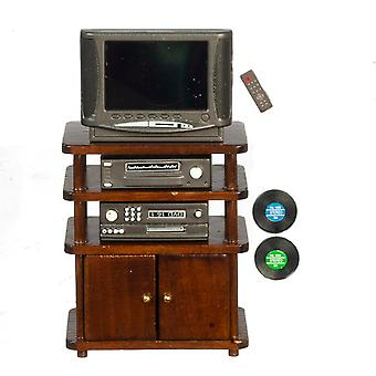 Dolls House Entertainment Centre Walnut Tv Stand  Living Room Furniture