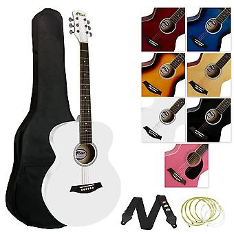 Tiger music full size acoustic guitar for beginners - white