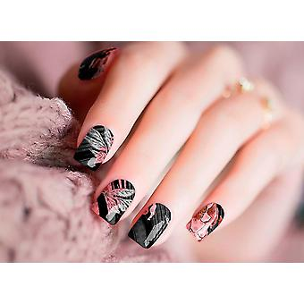 Black And Pink Nail Wraps