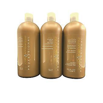 Liquid Keratin De Frizz Shampoo & Conditioner 33 OZ & Smooth Treatment 35 OZ Set