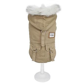Talvi vaatteet lämmin koira takki takki hupullinen takki fleece pehmustettu