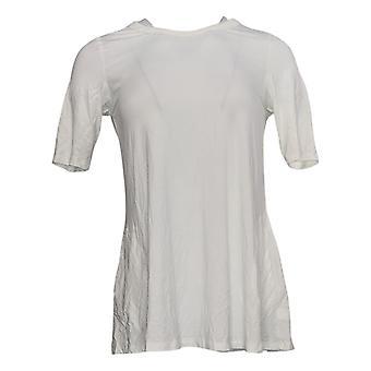 LOGO By Lori Goldstein Women's Top Rayon Elbow-Sleeve Swing White A379902
