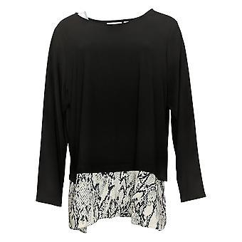 Susan Graver Women's Plus Top Textured Tunic W/ Printed Hem Black A38423