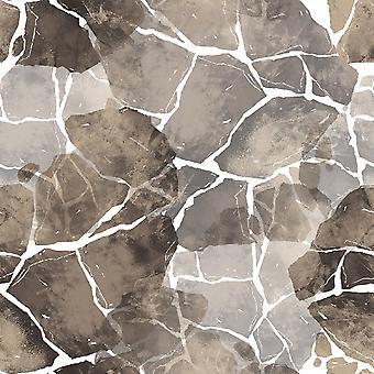 Alfombra con estampado multicolor de mármol en poliéster, algodón, L80xP150 cm