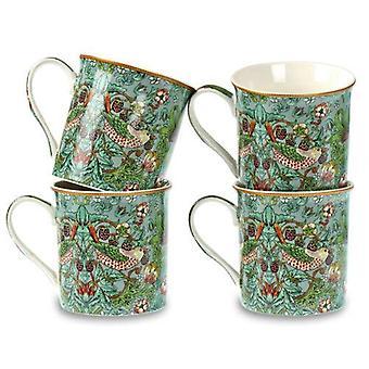 Set 4 China Mugs William Morris Blue Green Strawberry Thief