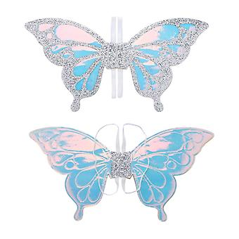 Girls Fairy Princess Sparkling Glittery Holographic Wings for Cosplay