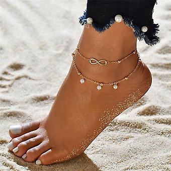 كريستال الخرز الكاحل سوار الساق سلسلة جولة هولو زهرة خمر القدم المجوهرات
