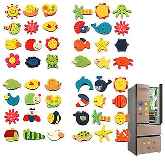 12pcs/lot Wooden Refrigerator Magnet Fridge Stickers Animal Cartoon Toy