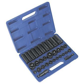 Sealey Ak681 indvirkning Socket sæt 32Pc Standard/dyb 3/8 i og 1/2 i Sq Dr