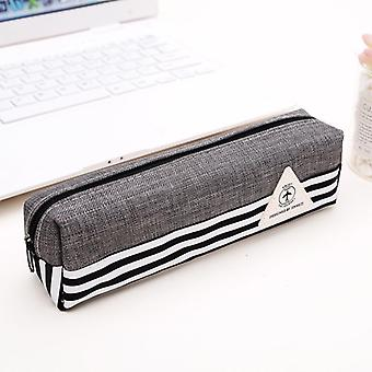 Pencil Case Simple Canvas Geometric Bag Pouch