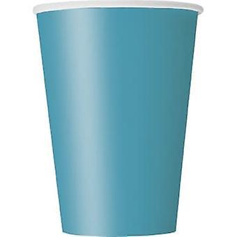 10 Caribisch blauwe kartonnen bekers 355 ml